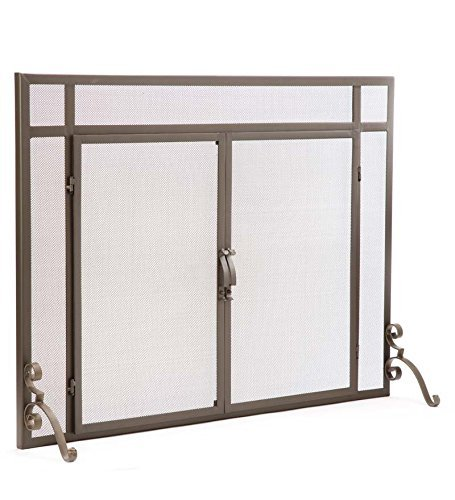 Plow & Hearth Large Flat Guard Fireplace Screen with Doors, Handcrafted Solid Steel, Heavy Duty Metal Mesh, Adjustable Feet, Powder Coat Finish, Free Standing Spark Guard 44 W x 33 H, Bronze