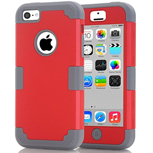 iPhone 5C Case, J.west Hybrid Heavy Duty Shockproof Full-Body Protective Case with Dual Layer [Hard PC+ Soft Silicone] Impact Protection for Apple iPhone 5C - Red/Grey (C-west Body)