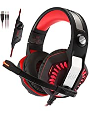 KOTION EACH G2000 pro WITH 2 JACKS Vibrating Over-ear Gaming Headphones with Mic, LED Light, Noise Reduction Headset for Computer Game (BLACK/RED)