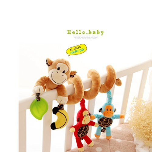 KaiMap Kid Baby Spiral Bed Stroller Toy with The Loved Monkey Family Plush Toy, Car Seat Toy, Hanging Toy for Baby with Monkey Family