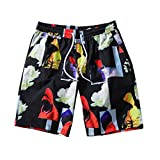 aiNMkm Men's Pants Jeans,Men's Summer Fashion Casual Quick-Drying Printing Loose Beach Sport Shorts Pants,Black,M