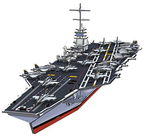 Top Race 3D Puzzle, Gerald R. Ford Aircraft Carrier Puzzle, No Glue, No Scissors, Easy to Assemble. (99 Pieces)