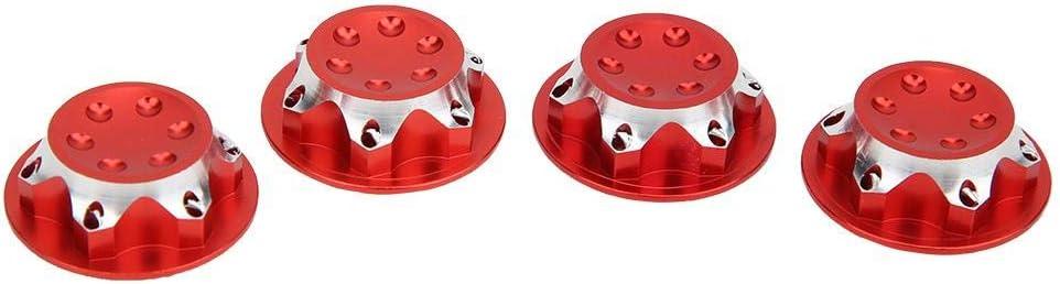 4PCS 17mm Aluminium Alloy Dust-Proof Hub Nut Wheel Accessory for 1//8 RC Car Model Red Woyisisi RC Car Hub Nut