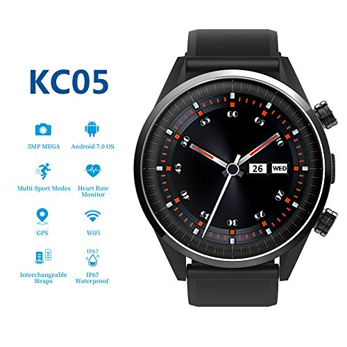 (4G Smartwatch, KC05 LTE Smart Watch for Android & iOS Phone with MTK 6739 Quad Core 1GB+16GB, SIM Card, 1.39″ AMOLED Screen, Bluetooth, HR GPS, 5MP Camera & Heart Rate Monitor by HouseMao (Black))
