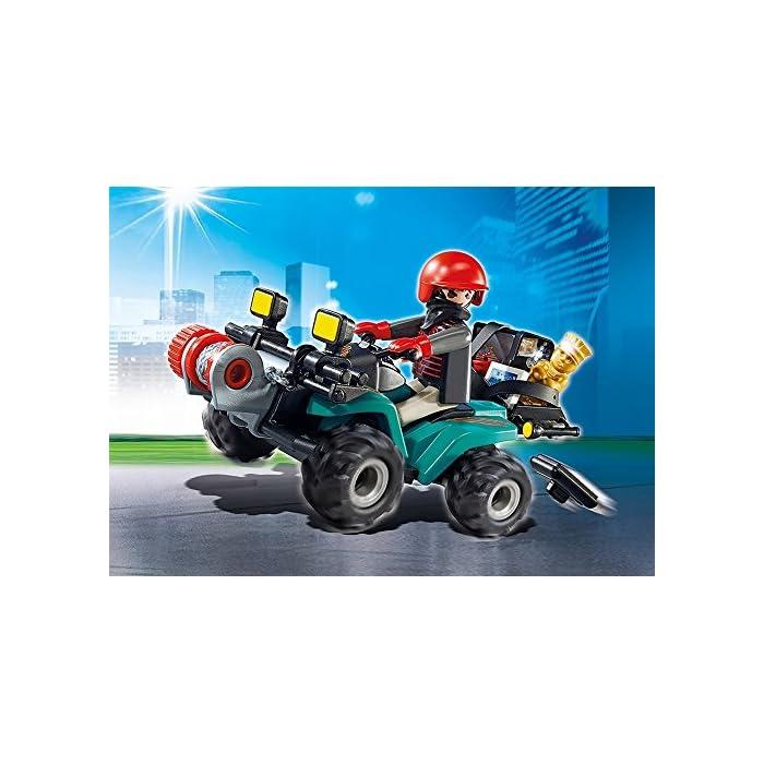 51XySyMcfAL Con motor de fricción Figura de ladrón con guantes Gato y linterna; el quad dispone de una caja para transportar el botín: premio