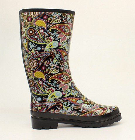 Roxx Paisley Orange Outdoor 10 58108 B Blazin Boots Womens Black wfIAdxwRq