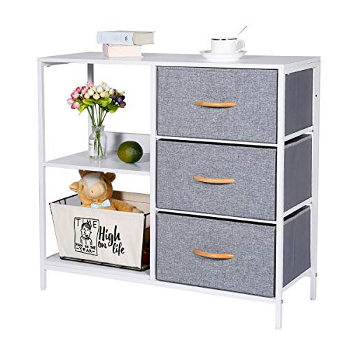 Kamiler Storage Dresser with 3 Drawers, Storage Cabinet with 2 Open Shelves, Chest of Drawer for Bedroom,Office…