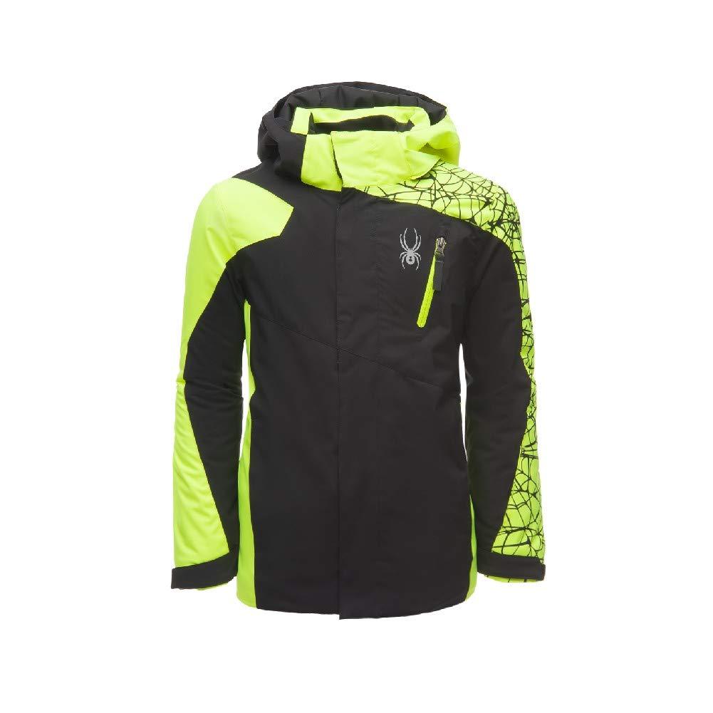 Spyder Boys' Guard Ski Jacket, Black/Bryte Yellow, Size 10
