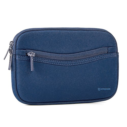 6-7in GPS Case - Evecase GPS Navigation Smile Neoprene Pouch Sleeve Case for Garmin nüvi, Tomtom, Magellan and More - 6-7 inch Navy Blue ()