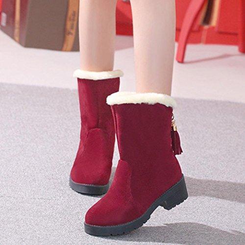 DEESEE(TM) Women Ladies Boots Flat Winter Warm velvet Shoes Short Snow Boots (US 4.5, Red)