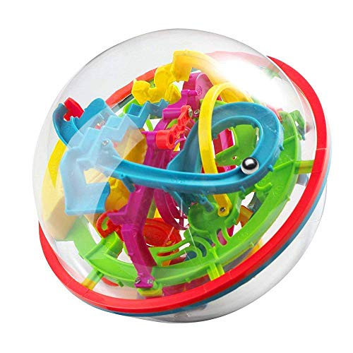 Maze Ball Game 3D Intellect Ball with 100 Challenging Barriers 3D Labyrinth Ball for Kids 3D Puzzle Toy Magical Maze Ball Brain Teasers Puzzle ()