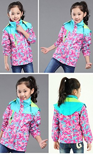 Bakerdani Girls Casual Jacket Floral Zipper Hooded Coat Removable Two-piece Suit by Bakerdani (Image #6)