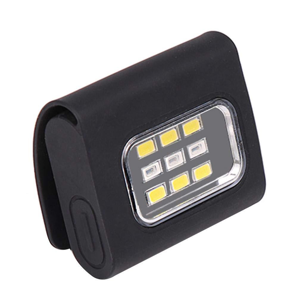 1.09 oz FISHNU COB L/ámpara con Tapa de 5 vatios con Clip Linterna Frontal Recargable USB de Alta Potencia Linterna de b/éisbol de /área de Cubierta Amplia
