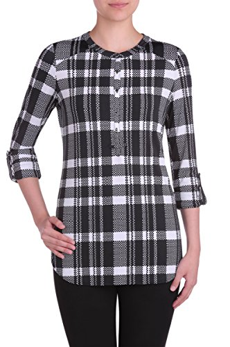 Nygard Women's Petite Slims Henley Top BlkWhtPlaid