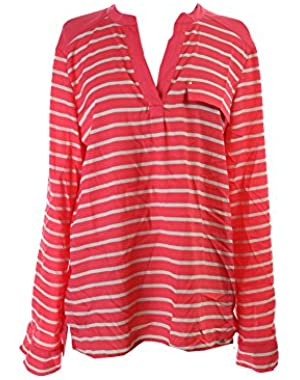 Calvin Klein Pink Roll-Tab-Sleeve Split Neck Striped Top L