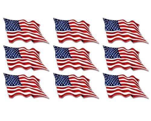 (Sheet of 9: USA Waving Flag Stickers (American us Scrapbook Decals) )
