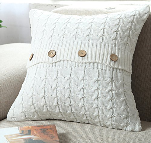 (ANDUUNI Decorative Cotton Knitted Pillow Case Cushion Cover Double-Cable Knitting Patterns Soft Warm Throw Pillow Covers (Cover Only,)