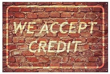 CGSignLab Ghost Aged Brick Heavy-Duty Outdoor Vinyl Banner We Accept Credit 9x6