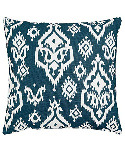 (Hallmart Collectibles Blue Ikat Medallion 18' Square Decorative Pillow)