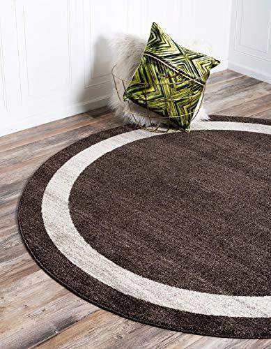 Unique Loom Del Mar Collection Contemporary Transitional Brown Round Rug 8 0 x 8 0
