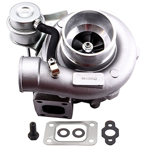 - maXpeedingrods GT25 GT28 T25 T28 GT2871 GT2860 Turbo Universal Turbocharger 0.64A/R 400BHP+, T25 5-Bolt Flange 0.6A/R Turbo Charger for 1.8L-3.0L Engine, Water + Oil Cooled Turbo
