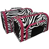 Sturdy Canvas Zebra Print Pet Carrier 2 Piece Set w/ Carry Straps for Dog or Cat Pink Trim