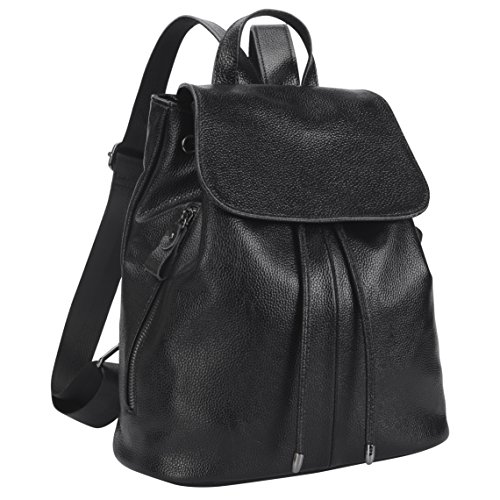 Belle & Lily Valentines Day Gift Black Genuine Pebbled Leather Backpack Purse Casual Daypack for Girls Ladies Women Schoolbag Travelling Shopping (BL02) by Belle & Lily
