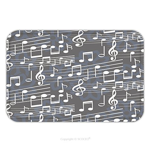 Treble Costume No (Flannel Microfiber Non-slip Rubber Backing Soft Absorbent Doormat Mat Rug Carpet Endless Abstract Pattern Background Texture Note Treble Clef Music Sound Vector Illustration 592702202 for)