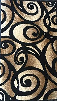 Bellagio Modern Doorway Mat Area Rug Black Design #341 (2 Feet X 3 Feet 4 Inch)