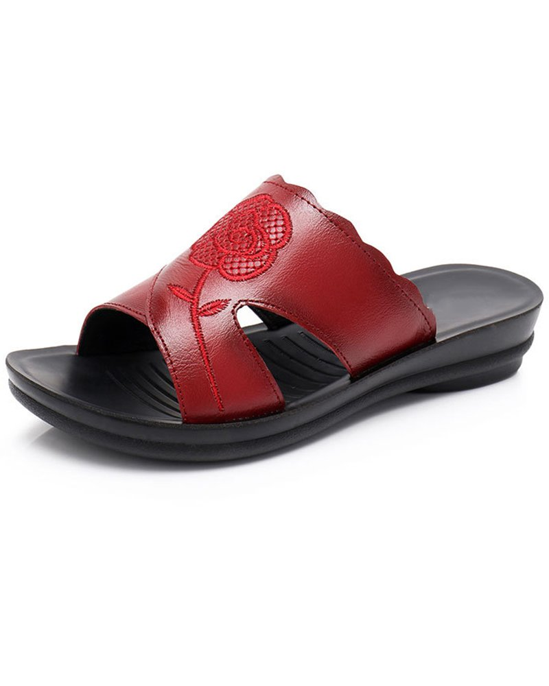 Duberess Women's Casual Comfortable Open Toe Wedged Slides Sandals Ladies Leather Summer Shoes (US 7.5, Red Style 1)