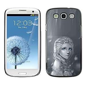 Caucho caso de Shell duro de la cubierta de accesorios de protección BY RAYDREAMMM - Samsung Galaxy S3 I9300 - Rain Lonely Sad Black White Drawing