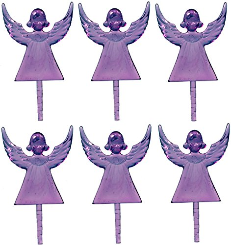 Creative Hobbies Plastic Angel Ceramic Christmas Tree Topper, Cake Topper Craft Ornaments 2.5 Inches Tall, Purple, 10 Pack