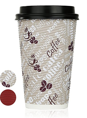 Price comparison product image Disposable Hot Coffee Insulated Cups By Golden Spoon – 50 Pack Set Complete With Lids – Stylish Contemporary Ripple Design - Perfect For Take Away Coffee Shops And Bars (16 oz,  Multicolor)