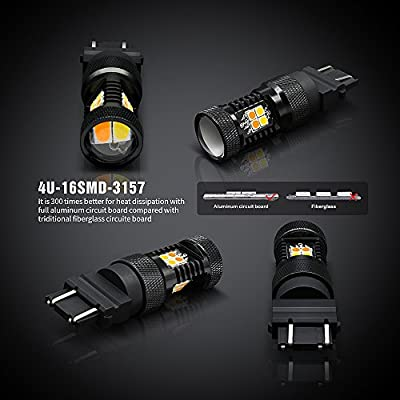 SIRIUSLED Super Bright White and Amber Switchback 3030 Chipset SMD LED Bulbs with Projector for Car Turn Signal Lights DRL 3157 3157A 3155 3457 4157: Automotive