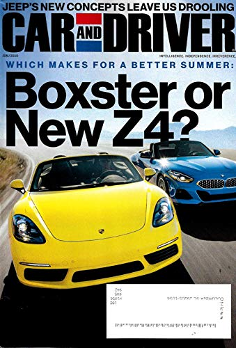 CAR AND DRIVER Magazine June 2019 PORSCHE BOXTER & BMW Z4 - Magazine Cars Best