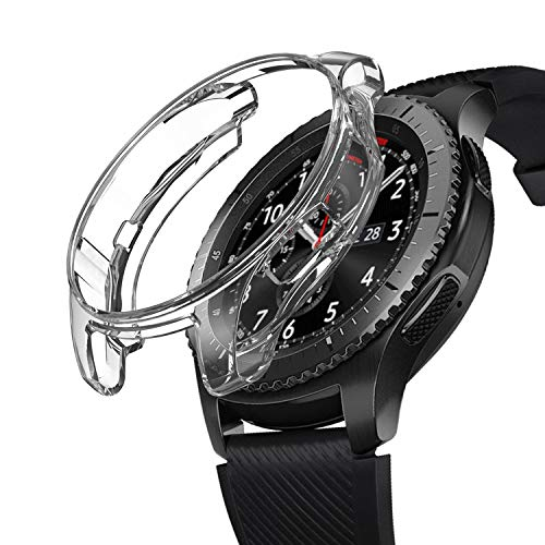 SIRUIBO Case for Samsung Gear S3 Frontier SM-R760, TPU Scractch-Resist Frame Protective Cover Shell for Samsung Gear S3 Frontier/Classic Galaxy Watch 46mm SM-R800 Smartwatch, Clear