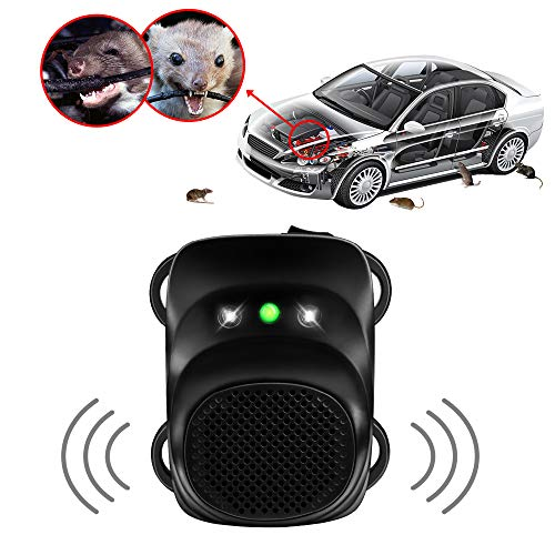 Loraffe Under Hood Rodent Ultrasonic Rat Repellent Mice Deterrent with Ultrasound and LED Flashlights, for 12V 24V Vehicle Auto Garage Pest Control, Keep Animal from Chewing Car Wir