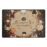 HEOEH Halloween Pumpkin Dance Doormats Area Rug Rugs Non-Slip Floor Mat Indoor Outdoor 60x39 inch
