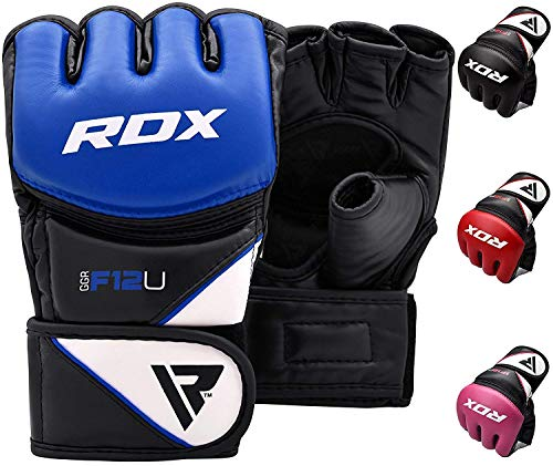 RDX MMA Gloves Grappling Martial Arts Sparring Punching Bag Cage Fighting Maya Hide Leather Mitts Combat Training ()