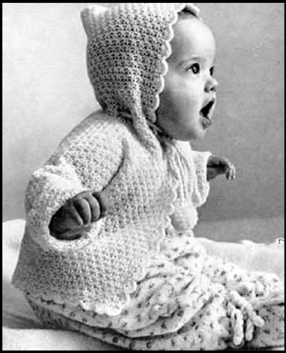 KNITTED HOOD SACQUE - Vintage Hooded Baby Sweater Knitting Pattern - Instant Download Kindle Ebook - AVAILABLE FOR DOWNLOAD to Kindle DX, Kindle for PC, ... baby clothes, baby patterns, hoodie, hoody)