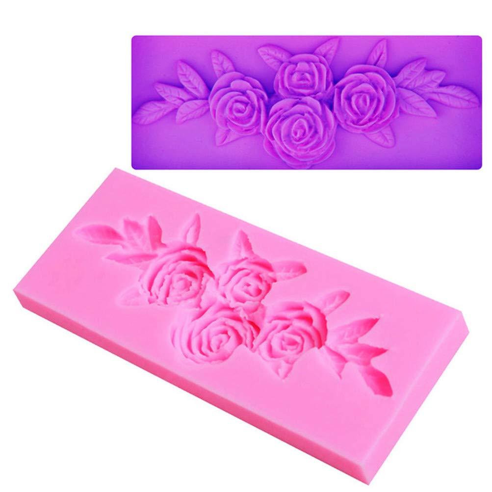 Flybloom Silikonformen Rose Blume mit Blattform DIY Fondant Schokolade Sugarcraft Plä tzchenform Kuchen Dekor Backen Werkzeuge HeShengFactory