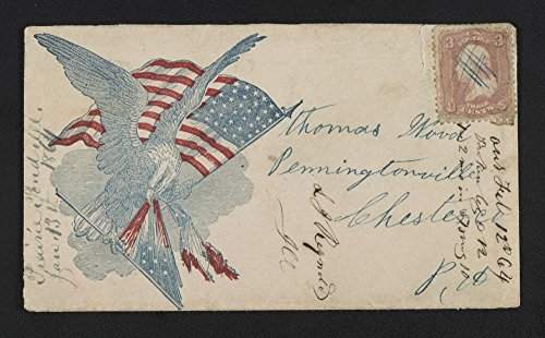 1861 Photo Civil War envelope showing eagle with American flag attacking 7-star Confederate flag (Eagle Flag Confederate)