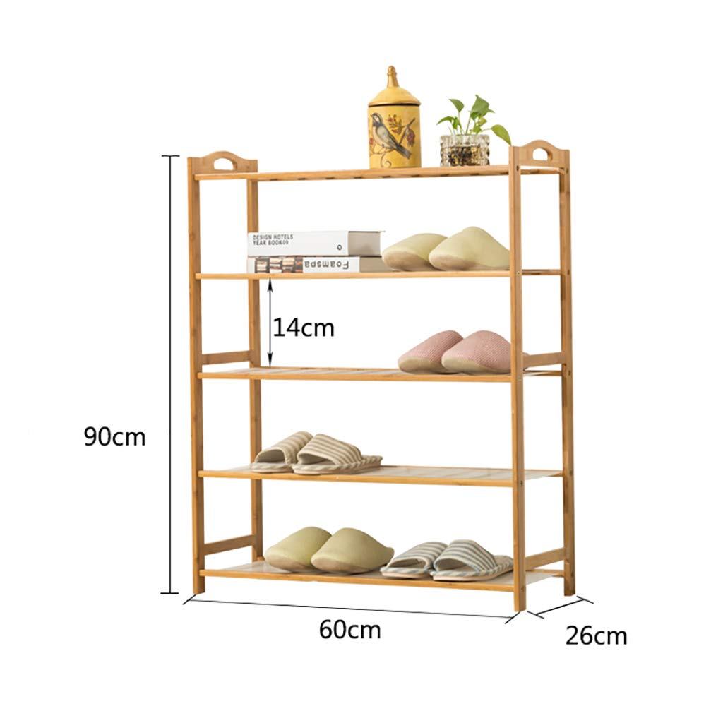 602690cm Entrance 5 Floor shoes Rack shoesbox shoes Bench Shelf Storage Shelf Hot Pot Rack shoesbox Multifunction Household Dorm Room Space Saving Doorway Living Room Bamboo (Size   90  26  90cm)