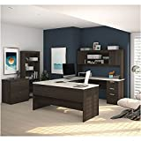 Ridgeley U-Shaped Desk with Bookcase and File Weight: 533 lbs Dark Chocolate & White Chocolate Laminate