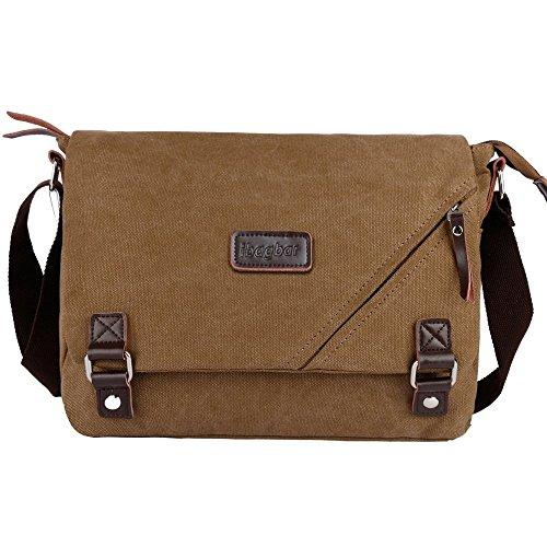 ibagbar Canvas Messenger Bag Shoulder Bag Laptop Bag Computer Bag Satchel Bag Bookbag School Bag Working Bag for Men and Women Brown Small