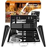 Doatry Heavy Duty 21 Piece BBQ Tools Set, Stainless-Steel BBQ Grill Accessories, Heavy Duty Grill Utensils Aluminum Storage Case - Spatula, Tongs, Fork Basting Brush, Great Outdoor Grill Kit