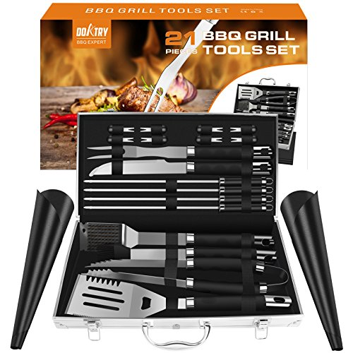 Doatry Heavy Duty 21 Piece BBQ Tools Set, Stainless-Steel BBQ Grill Accessories, Heavy Duty Grill Utensils with Aluminum Storage Case - Spatula, Tongs, Fork and Basting Brush, Great Outdoor Grill Kit