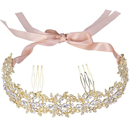 EVER FAITH Gold-Tone Austrian Crystal Elegant Floral Leaf Ribbon Heart Shape Hair Band with Combs Clear