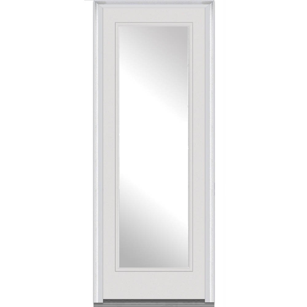 National Door Company ZZ09422L Fiberglass Smooth Brilliant White, Left Hand In-swing, Prehung Front Door, Full Lite, Clear Glass, 36'' x 96''