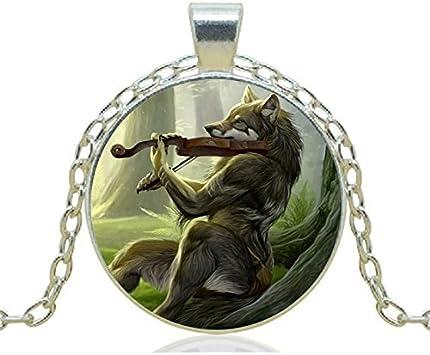 Collar colgante de lobo de violín, estilo vintage, joyería de regalo para mujer